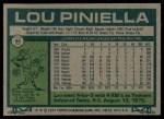 1977 Topps #96  Lou Piniella  Back Thumbnail