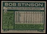 1977 Topps #138  Bob Stinson  Back Thumbnail