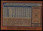 1978 Topps #179  Dick Tidrow  Back Thumbnail