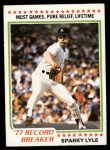 1978 Topps #2   -  Sparky Lyle Record Breaker Front Thumbnail