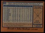 1978 Topps #343  John Wathan  Back Thumbnail