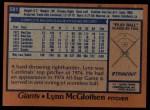 1978 Topps #581  Lynn McGlothen  Back Thumbnail