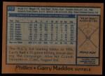 1978 Topps #610  Garry Maddox  Back Thumbnail