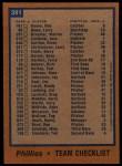 1978 Topps #381   Phillies Team Checklist Back Thumbnail