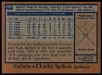 1978 Topps #459  Charlie Spikes  Back Thumbnail