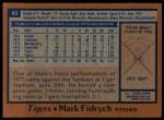 1978 Topps #45  Mark Fidrych  Back Thumbnail