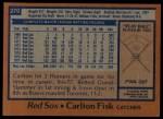 1978 Topps #270  Carlton Fisk  Back Thumbnail
