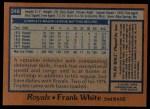 1978 Topps #248  Frank White  Back Thumbnail