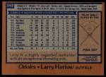 1978 Topps #543  Larry Harlow  Back Thumbnail