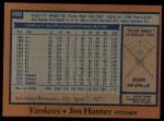 1978 Topps #460  Catfish Hunter  Back Thumbnail