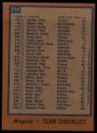 1978 Topps #214   Angels Team Checklist Back Thumbnail