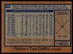 1978 Topps #318  Tom Griffin  Back Thumbnail
