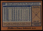 1978 Topps #317  Davey Johnson  Back Thumbnail