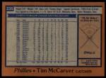 1978 Topps #235  Tim McCarver  Back Thumbnail