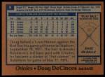 1978 Topps #9  Doug DeCinces  Back Thumbnail