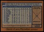 1978 Topps #512  Larry Herndon  Back Thumbnail