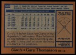 1978 Topps #648  Gary Thomasson  Back Thumbnail