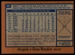 1978 Topps #48  Don Baylor  Back Thumbnail