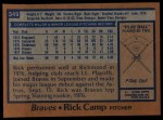 1978 Topps #349  Rick Camp  Back Thumbnail
