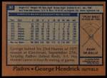 1978 Topps #30  George Hendrick  Back Thumbnail