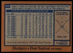 1978 Topps #310  Don Sutton  Back Thumbnail