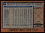 1978 Topps #345  Luis Tiant  Back Thumbnail