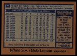 1978 Topps #574  Bob Lemon  Back Thumbnail