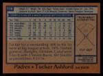 1978 Topps #116  Tucker Ashford  Back Thumbnail