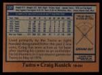 1978 Topps #137  Craig Kusick  Back Thumbnail