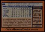1978 Topps #234  Herman Franks  Back Thumbnail