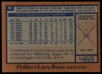 1978 Topps #90  Larry Bowa  Back Thumbnail
