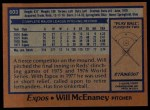 1978 Topps #603  Will McEnaney  Back Thumbnail