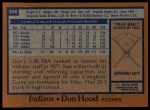 1978 Topps #398  Don Hood  Back Thumbnail