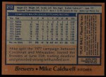 1978 Topps #212  Mike Caldwell  Back Thumbnail