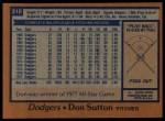 1978 Topps #310  Don Sutton  Back Thumbnail