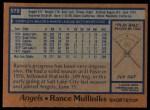 1978 Topps #579  Rance Mulliniks  Back Thumbnail