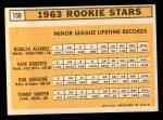 1963 Topps #158   -  Tommy Harper / Rogelio Alvarez / Dave Roberts / Bob Saverine Rookie Stars   Back Thumbnail