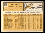 1963 Topps #153  Hal W. Smith  Back Thumbnail