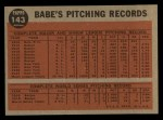 1962 Topps #143 A  -  Babe Ruth Greatest Sports Hero Back Thumbnail