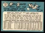 1965 Topps #110  Ron Santo  Back Thumbnail
