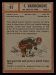 1962 Topps #83  Frank Varrichione  Back Thumbnail