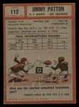 1962 Topps #112  Jim Patton  Back Thumbnail