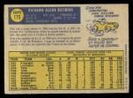 1970 O-Pee-Chee #175  Dick Bosman  Back Thumbnail