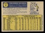 1970 O-Pee-Chee #19  John Boccabella  Back Thumbnail