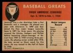 1961 Fleer #47  Hughie Jennings  Back Thumbnail