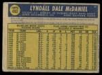 1970 O-Pee-Chee #493  Lindy McDaniel  Back Thumbnail