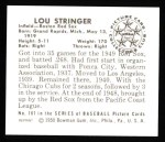 1950 Bowman REPRINT #187  Lou Stringer  Back Thumbnail