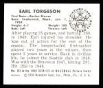 1950 Bowman REPRINT #163  Earl Torgeson  Back Thumbnail