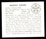 1950 Bowman REPRINT #78  Mickey Owen  Back Thumbnail