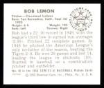 1950 Bowman REPRINT #40  Bob Lemon  Back Thumbnail